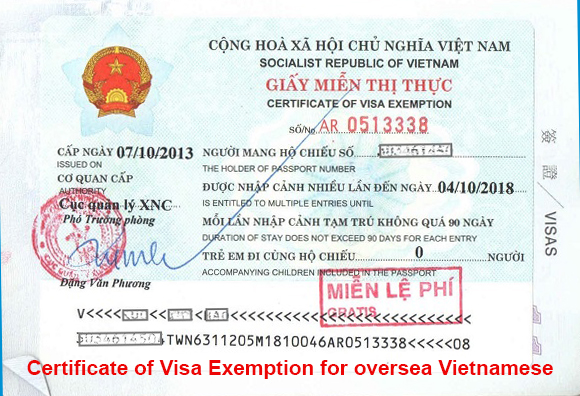 instruction for issuing certificate of visa exemption for overseas Vietnamese