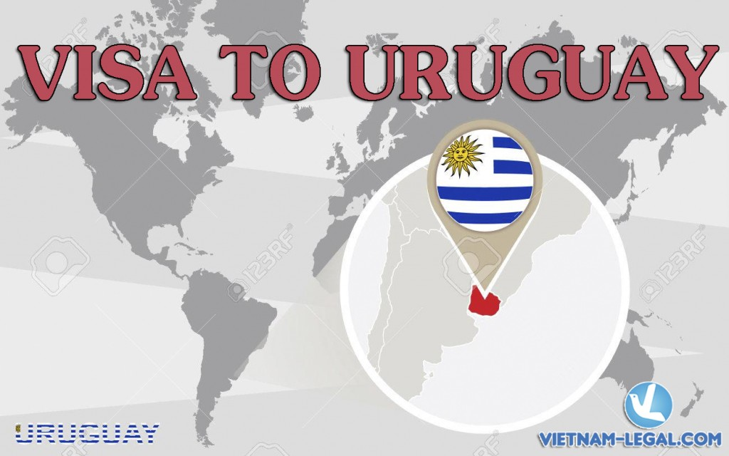 World map with magnified Uruguay. Uruguay flag and map.