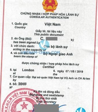 Legalization Result of UK TEFL Certificate for use in Vietnam, May 2019