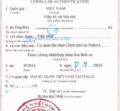 Legalization Result of Italian Document for use in Vietnam, April 2019