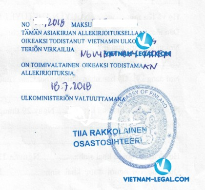 Legalization Result of Vietnam Document for use in Finland