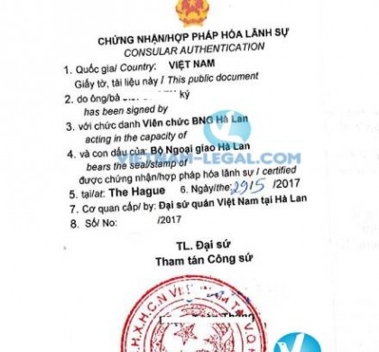 Legalization Result of Netherlands Document for use in Vietnam