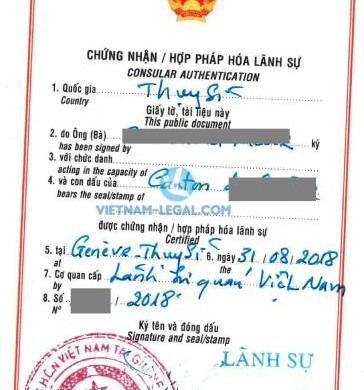 Legalization Result of Swiss Document for use in Vietnam