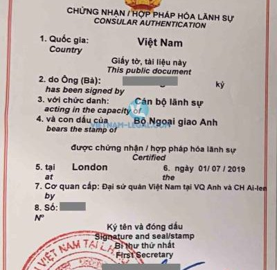 Legalization Result of UK Document for use in Vietnam, July 2019
