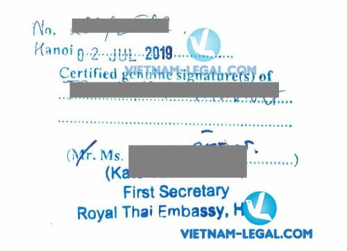 Legalization Result of Vietnam Document for use in Thailand , July 2019