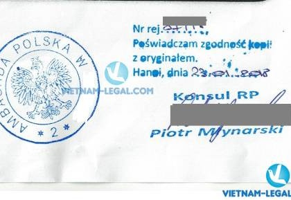 Legalization Result of Polish Document for use in Vietnam