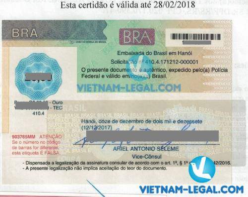 Legalization Result of Brazil Document for use in Vietnam