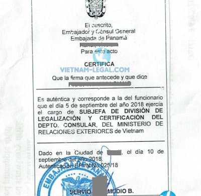 Legalization Result of Vietnamese Document for use in Panama