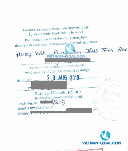 Legalization Result of Vietnamese Document for use in Germany, August 2019