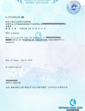 Legalization Result of Academic Transcript from Massachusetts, USA for use in Taiwan, September 2019
