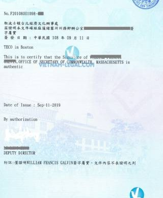 Legalization Result of Bachelor Degree from Massachusetts, USA for use in Taiwan, September 2019