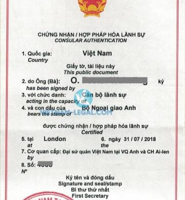 Legalization Result of UK Marriage Certificate for use in Vietnam, July 2018
