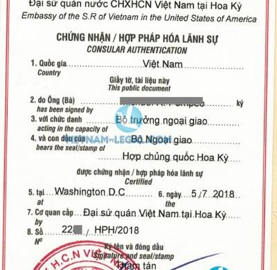 Legalization Result of Certificate of Free Sale from Virginia,USA for use in Vietnam, July 2018