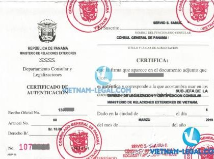 Legalization Result of Vietnamese Certificate of Free Sale for use in Panama, March 2019