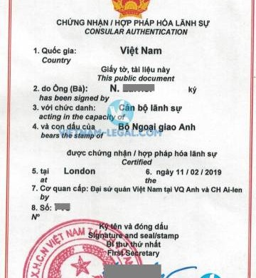 Legalization Result of UK TEFL Certificate for use in Vietnam, February 2019
