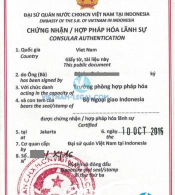 Legalization Result of Certificate of Incumbency from Indonesia for use in Vietnam