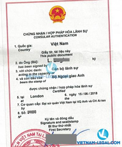Legalization Result of UK Working Experience for use in Vietnam, June 2018