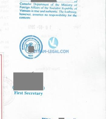 Legalization Result of Document from Vietnam for use in Myanmar