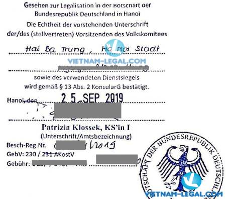 Legalization Result of Vietnamese Birth Certificate for use in Germany, September 2019