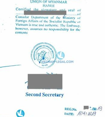 Legalization Result of Power of Attorney from Vietnam for use in Myanmar, April 2019