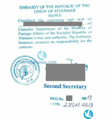 Legalization Result of Certificate of Free Sale from Vietnam for use in Myanmar, February 2019