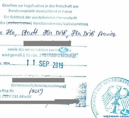 Legalization Result of Vietnamese Marital Status Confirmation for use in Germany, September 2019