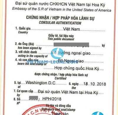Legalization Result of Single Status Confirmation from Carolina, USA for use in Vietnam, October 2018