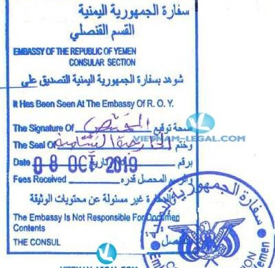 Legalization Result of Business Registration Certificate from Vietnam for use in Yemen, October 2019