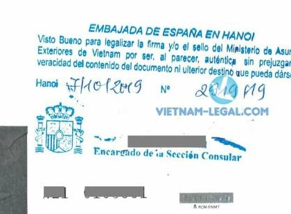 Legalization Result of Statement of Marriage for use in Spain, October 2019