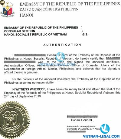 Legalization Result of University Degree from The Philippines for use in Vietnam September, 2019