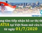 Trung tâm tiếp nhận hồ sơ thị thực Croatia tại Việt Nam sẽ nhận hồ sơ thị thực trở lại từ 1/7/2020